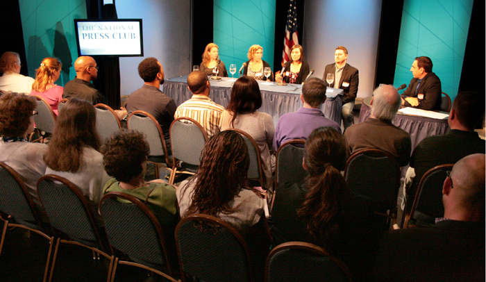 Panelists discuss selling shows and ideas to television networks with moderator Walter Gottlieb.