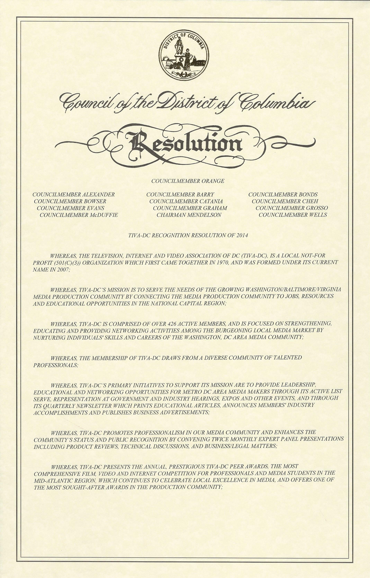 DC Council Resolution Page 1